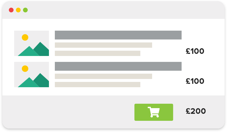 An overview of products in a webshop's shopping cart